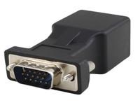 Wholesale Vga Extender Male Lan - Brand new Extender VGA RGB HDB 15pin Male to LAN CAT5 CAT6 RJ45 Network Cable Female Adapter
