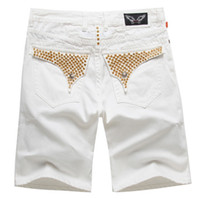 Mens White Jeans Size 32 online - 4color new Mens Robin Short Jeans Men's Designer Jean Cowboy Denim Pant with Eagle Wings Embroidery Men casual pants us size 32-42