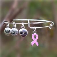 Wholesale Wholesale Fashionable Charm Bracelets - Wholesale-Fashionable Breast Cancer Awareness Bangle Faith Hope Love Charm Bracelet Wish Jewelry