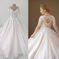 Wholesale Plus Size Pink Wedding Gowns - Luxury Light Pink Tulle Wedding Dresses 3D-Floral Appliques Short Sleeve Court Train Lace Bridal Gowns Beads Plus Size Wedding Dress