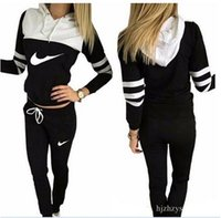Wholesale Motorcycle Hooded Sweatshirts - Women Tracksuit Sportswear Set Sports Suit Women Hoodies Sweatshirts Casual Hooded + 2PIECES JOGGING SUIT TRACKSUITS Mujer clothing