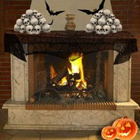 Suministros de fiesta de Halloween Fireplace Lace Spiderweb Mantle Scarf Cover Negro web paño de tabla al por mayor envío gratuito