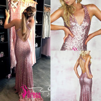 Wholesale Mermaid Glitter Prom Dresses - Rose Pink Sequin Mermaid Prom Dresses 2016 New Fashion Halter Sparkly Backless Sequins Glitter Evening Dresses Party Gowns Custom Made