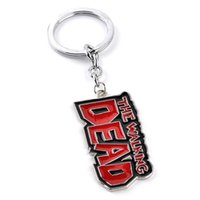 Wholesale Red Rectangle Ring - punk alloy children The Walking Dead keychain Rectangle Lettering key chain Black matrix Red English alphabet Letter word key ring 2017 y023