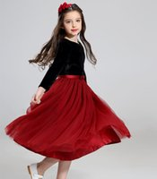 Wholesale Velvet Chinese Style Dress - Girls pageant dresses princess tulle tutu dress kids velvet long sleeve christmas gown for kid birthday party dress girl clothing T0561