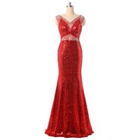 Wholesale Extra Long Sleeveless - In Stock V-neck Red Long Evening Dress Sequin Beaded Formal Prom Evening Gown Prom Dress Plus Size Need Extra Fees