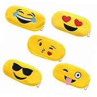 Wholesale Pen Holder Bag - Pencil Bags Emoji Poke Plush Zipper Cosmetic Bag Pouch Writing Supplies Office School Stationery Bag Cion Pen Holder YYA345