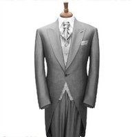 trajes de cola larga al por mayor-Custom Made Grey Tailco, Bespoke Groom Tuxedos de boda para hombres, Tailor Made Suit Groom, Long Tail Tuxedo, Trajes de hombre a medida para padrinos de boda