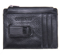 Wholesale Business Cards Free Simple - free shipping Unisex Men Women Genuine Leather Black Mini Cards Holder Cowhide Simple Bank Credit Cards Clip Car Set Coin Purse