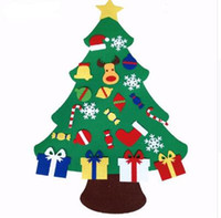 décorations murales d'arbres de noël achat en gros de-2017 NOUVEAU Kids DIY Felt Christmas Tree Set avec ornements Children Gift Toddler Door Wall Hanging Preschool Craft Décoration de Noël