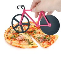 çift kesici toptan satış-1 adet Yüksek Kalite Bisiklet Pizza Kesici Çift Paslanmaz Çelik Bisiklet Pizza Kesici Yaratıcı pişirme araçları 3 renkler