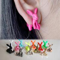 Wholesale Dimensional Animal Earrings - Wholesale-1pcs! Cute Bunny Stud Earrings Dimensional Animal Little Rabbits Women Earrings Piercing Earrings Punk Style aretes Jewelry