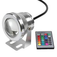 luz de punto llevada rgb impermeable al por mayor-10W Submarino RGB Light LED Control remoto Spot Light Lamp impermeable. IP68 950 lm 16 cambio de color para fuente decorado con el control remoto