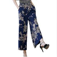 Wholesale Wide Linen Pants - Women summer cotton-linen pants New middle-aged loose plus-size elastic waist trousers print Wide Leg Pants AE228