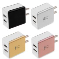 cargadores duales de pared de celular al por mayor-Metal 2A Dual USB Eu EE. UU. AC Home Cargador de pared Cargador rápido Adaptador de corriente Cargador de teléfono celular para iphone 6 7 8 Samsung s6 s7 s8 mp3 pc