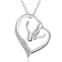 Wholesale Mother Children Sterling - Wholesale-925 Sterling Silver Mother and Child Horse Head Heart Shape Pendant Necklace