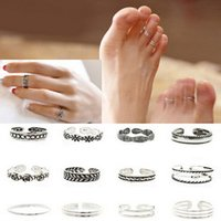 Wholesale Trendy Celebrity Jewelry Wholesale - 12pcs Lots Rings Sets Mix Celebrity Adjustable Retro Carved Flower Silver Plated Toe Foot Finger Ring Women Summer Punk Jewelry