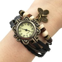 Wholesale Wholesale Wrist Wrap Watches - Mix Colors Cow Leather Women Watches Leather Butterfly Charm Watches Ladies Dress Vintage Weave Wrap Wrist Watch