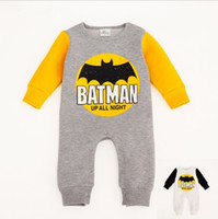 Wholesale Boys Batman Jumper - 2016 Newest Boys Girls Baby Onesies Newborn Rompers Jumpers Toddler Jumpsuits Cartoon Batman Spring Autumn Long Sleeve Romper Clothes