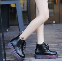 Wholesale Short Rainboots Women - British wind Women Martin boots short Boots Harajuku Lace Thick base Round head Muffin Casual female shoes