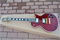 Wholesale Guitar Wavy - Wholesale - Free shipping One neck (No Scarf) Bloody Romance red wavy top Custom Electric Guitar High Quality Ebony Newest