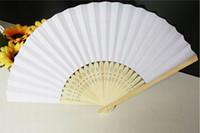weiße papierhandfächer großhandel-Dhl-freies verschiffen 200 stücke leere weiße papier hand fan perfekte party favor oder hochzeit favor urlaub dekoration