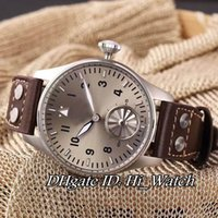 Wholesale Black Titanium Watch - Super Clone Brand Luxury Cheap IW510301 44mm Titanium Case Automatic Gray Dial Big Crown No.12 Mens Watch Brown Leather Watches IW-A277A