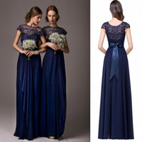 Wholesale Cheap Bow Chiffon Short Prom - 2017 Navy Blue Bateau Sheer Lace Long Cheap bridesmaid Dresses Cap Sleeves Floor Length Evening Dress Prom Gowns Wedding Party Dress CPS210