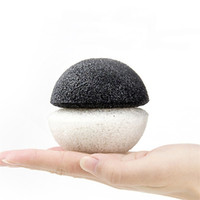 Wholesale face charcoal - Natural Hemisphere Konjac Sponge Charcoal &Green Tea Konjac Potato Konnyaku Facial Puff Face Wash Cleansing Sponge with bag