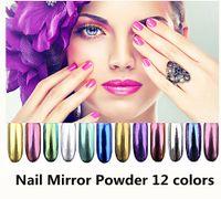 Wholesale Chrome Piece - 12 Color Nail Glitter 1.5g Piece Magic Mirror Chrome Effect Nails Powder Glitter Mirror Chrome Effect Dust Shimmer Nail Art Powder +B
