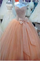 Wholesale Peach Corset Dresses - 2018 Peach Tulle Ball Gown Quinceanera Dresses Spaghetti Corset Cheap Sweet 16 Dress with Bow Custom Made Prom Pageant Dress Real Picture