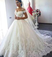 Wholesale Modest Cathedral Gowns - 2018 Luxury Vintage Lace Applique Wedding Dresses Dubai Arabic Off-shoulder Backless Cathedral Train A-line Princess Modest Bridal Gown