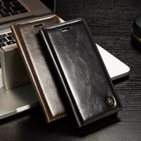 Wholesale Auto Flip - Luxury Phone Cases For iphone 8 7 Original Brand Genuine Leather Magnet Auto Flip Wallet Case Cover For iphone7 Accessories JS0016