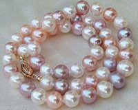 Wholesale 18 Mm White Pearl - HOT AAA 8-9 MM white purple pink Multicolor SOUTH SEA PEARL NECKLACE 18 INCH 14k GOLD CLASP