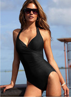 Wholesale Womens Swimsuit Xl - Summer Fashion One Piece Swimwear Black Womens Push Up Swimsuit for Girl Beachwear High Waist Brand Bating Suit Wholesale 3Colors M L XL 2XL