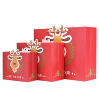 Pequenas 18x8x15cm 50pcs Red Merry Christmas sacos de papel para alces com alça Natal Xmas papel Gift packaging paper shopping gift bag