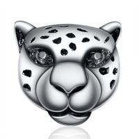 Wholesale bracelet animal leopard - Wholesale Snow Leopard With Crystal Charm 925 Sterling Silver European Charms Beads Fit Snake Chain Bracelets Fashion DIY Jewelry