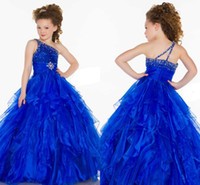 New Royal Blue Haute Couture One spalla Cristalli Ball Gown Tulle Flower Girl Abiti Toddler Glitz Pageant Dress Per Baby HY1285
