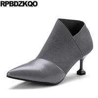 Sapatos de grife Mulheres Luxo 2017 Booties Grey Stiletto Patchwork Fall Botas estranhas Real Leather High Heel Ankle Slip On Pointed