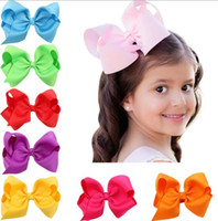Wholesale Hair Design - 16 colors baby girl cany color big bow barrettes Design Hair bowknot Children Headwear Kids Hairpin Girls Hair Clips Baby Hair Accessory