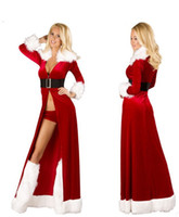 Wholesale Santa Sexy Outfits - Sexy Xmas Adult Women Santa Cosplay Costume Red Robes Fancy Dress Three Pieces Uniforms Outfits Christmas Costumes for Women