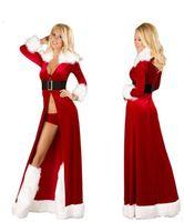 ingrosso abiti da santa donna-Sexy Xmas Adult Women Santa Cosplay Costume Red Robes Fancy Dress Tre pezzi Uniformi Outfit Costumi di Natale per le donne