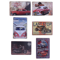 Wholesale Car Wall Plaque - Wholesale- Vintage Metal Tin Sign Motorcycle and Classic Cars Retro Plaque Poster Bar Pub Club Wall Tavern Garage Home Decor 6 Style 1pcs