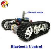 Vente en gros - DOIT Bluetooth Control Metal Robot RC Tank Car Chassis Crawler Tracked Robot Competition avec UNO R3 Board + Motor Drive Shield
