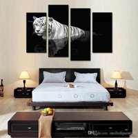 Wholesale Tiger Canvas Art - 4 Picture Combination Black & White Wall Art Painting Tiger Prints On Canvas The Picture Animal Pictures Oil For Home Modern