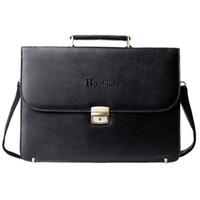 Wholesale Lawyers Briefcase - Wholesale-2016 NEW High Quality Famous Brand Men's Classic Black Briefcase Leather Business Office Laptop Bag Lawyer Handbag Document
