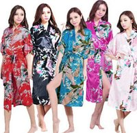 Wholesale Wholesale Blue Bridesmaids - new 12Colors Sexy Chinese Women long Silk Rayon Robe Wedding Bridesmaid Sleepwear V-Neck Kimono Bath Gown Mujer Pajama Plus Size S-3XL