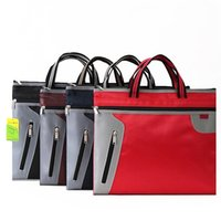 Wholesale File Tote Bag - Wholesale- 37X30CM Commercial Business Document Bag A4 Tote file folder Filing Bag Meeting Bag Side Zipper Pocket office bags for documents