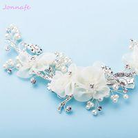 Wholesale Elegant Wedding Bridal Jewelry Headpiece - beijia Elegant Ivory Flora Bridal Hair Vine Clip Silver Wedding Hair Accessories Jewelry Pearls Women Headpiece