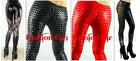 Wholesale Womens Lace Black Pantyhose - Womens 2016 Hot sexy lace crochet stitching light leather pants three-dimensional color nightclub PU patent leather elastic pantyhose 50